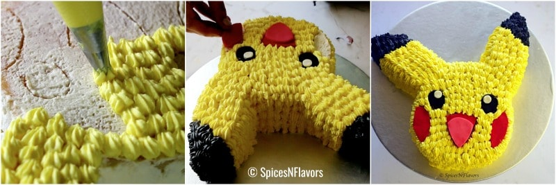 step 4 of easy pikachu cake tutorial