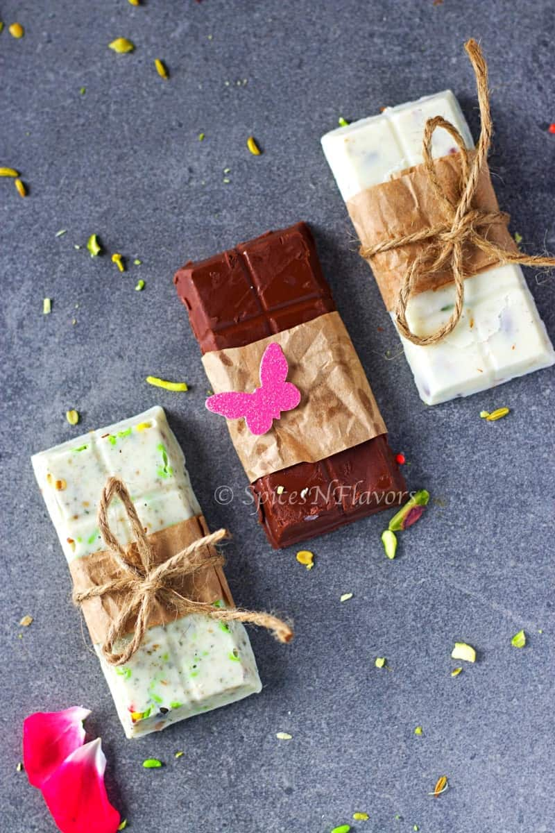 homemade chocolate bars wrapped up as a gift
