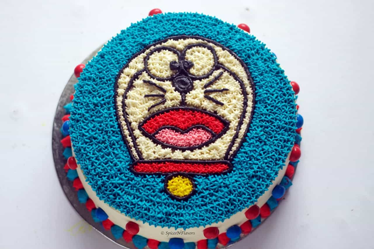 close up view of Doraemon Cake tutorial step by step birthday cake
