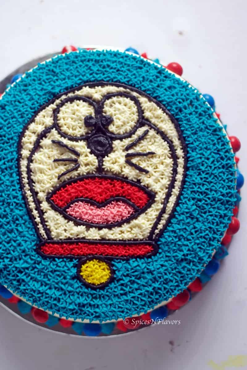 vertical image of Doraemon Cake tutorial diy step by step