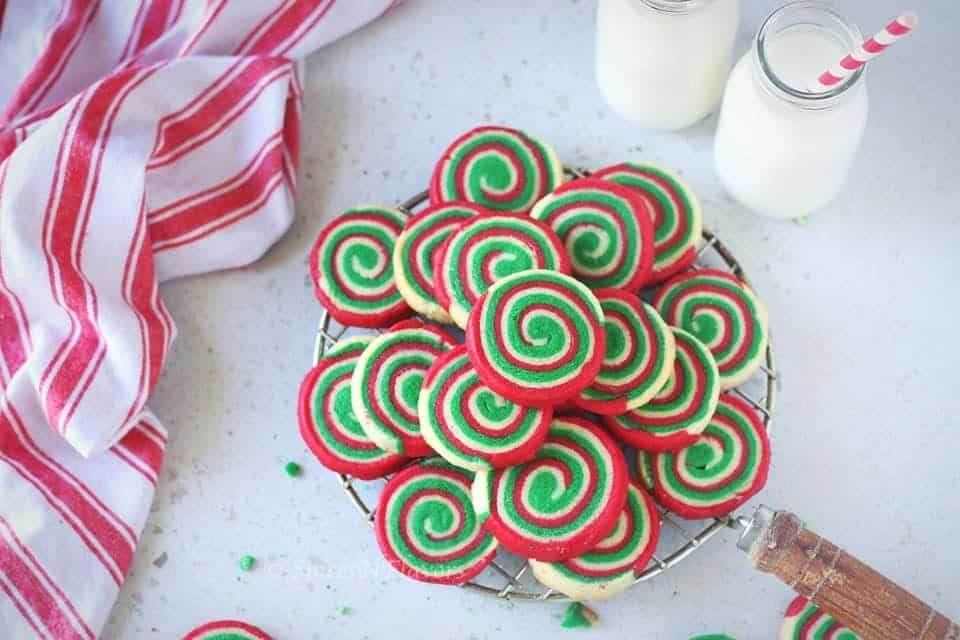 horizontal image of Christmas pinwheel cookies