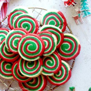 close up view of christmas pinwheel cookies