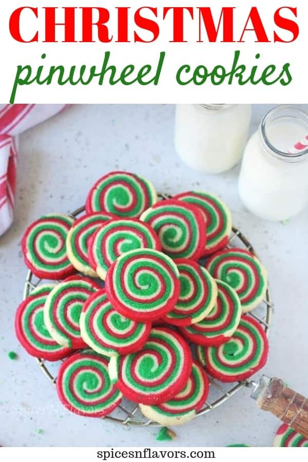 pin image of christmas pinwheel cookies