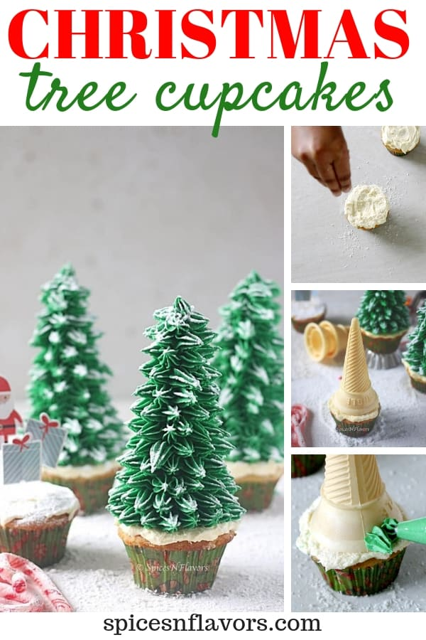 pin image of christmas tree cupcakes