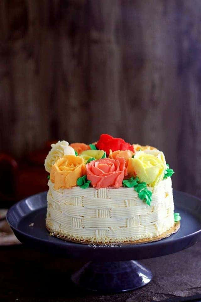 basket weave cake made using best buttercream frosting