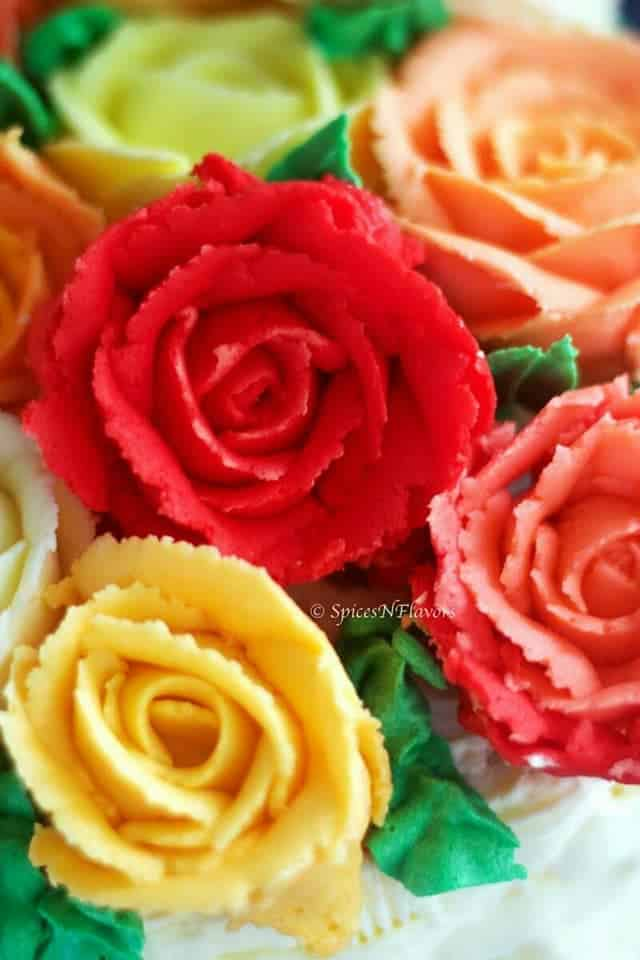 best buttercream frosting in deep red coloured rose