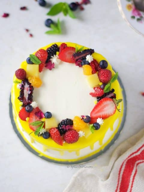 overhead image of Fresh Fruit Cake showing the different fresh fruits on top