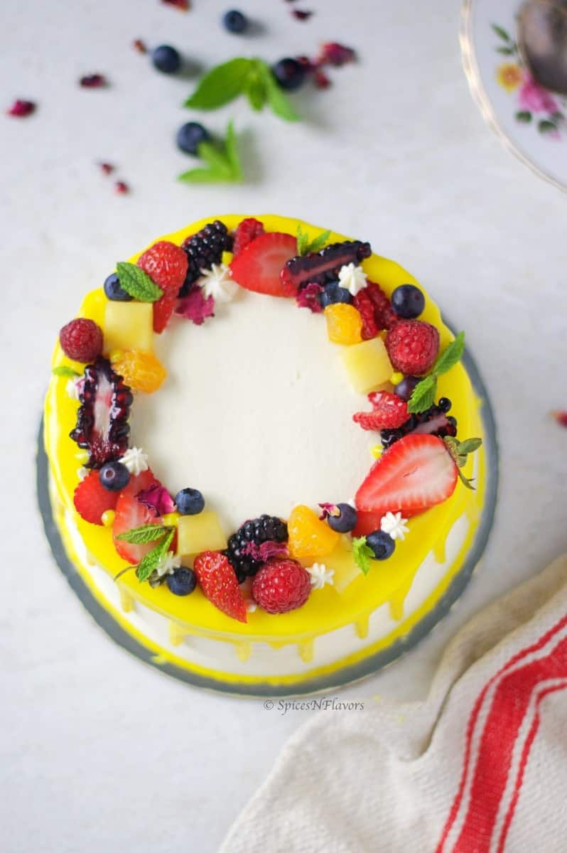 Eggless Fresh Fruit Cake with Whipped Cream - Spices N Flavors