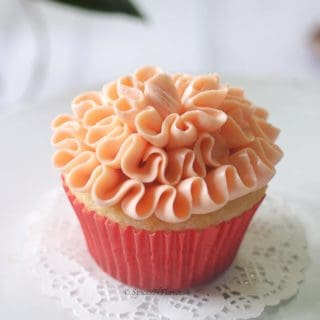 single strawberry filled cupcake image showing the ruffle pattern