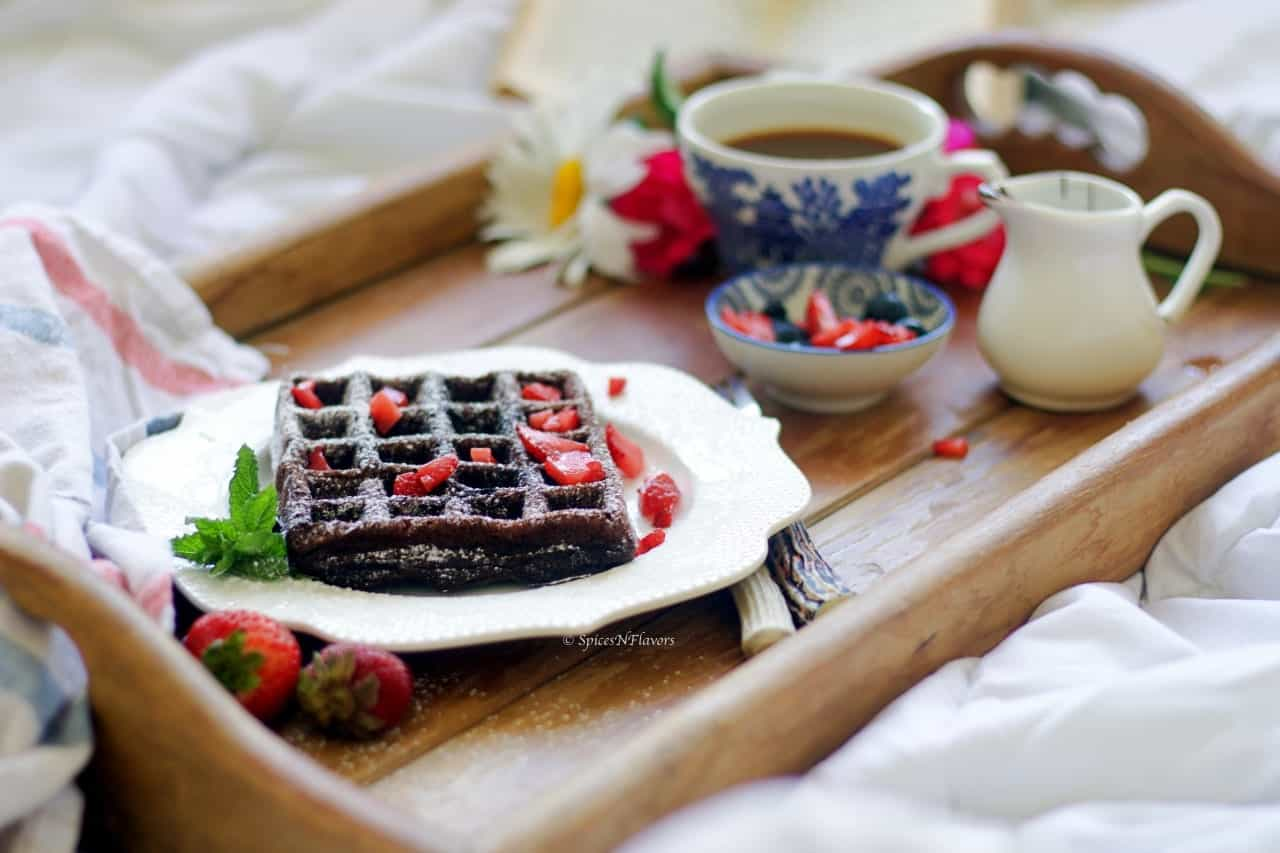 chocolate waffles served as breakfast in the bed
