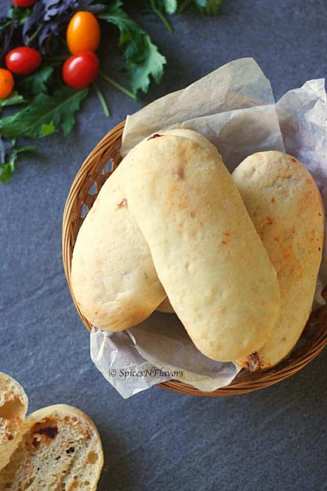panini bread placed on a bowl