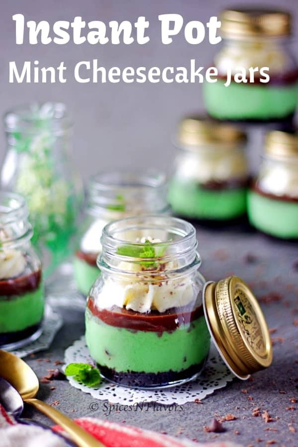 straight view of instant pot mint cheesecake in a jar showing the different layers in the dessert