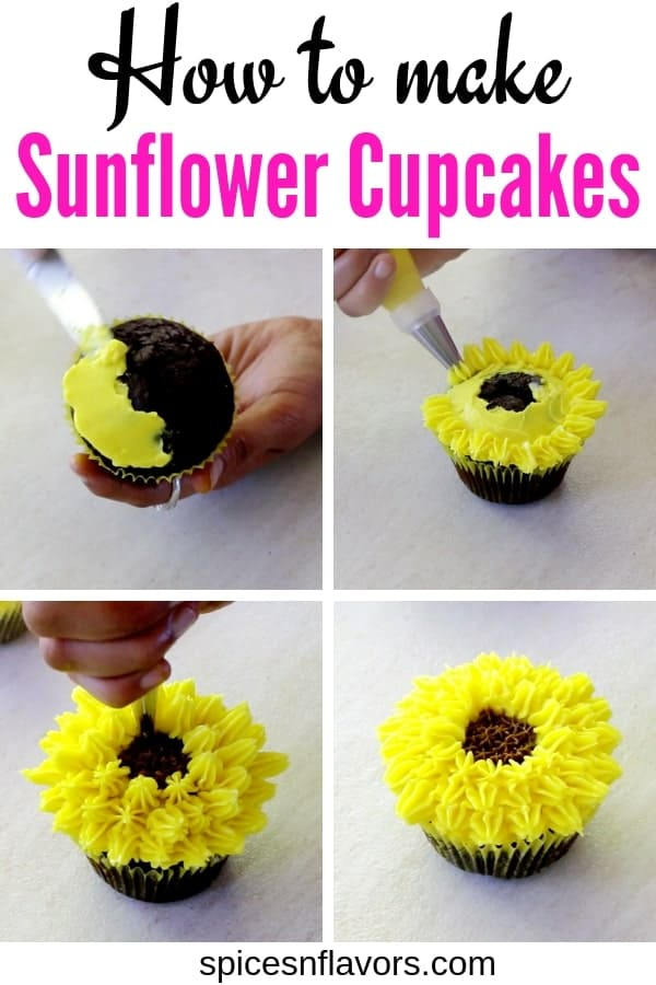 how to make sunflower cupcakes pictorial tutorial of buttercream flowers
