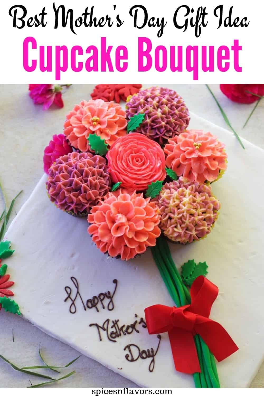 cupcake bouquet made using buttercream flowers