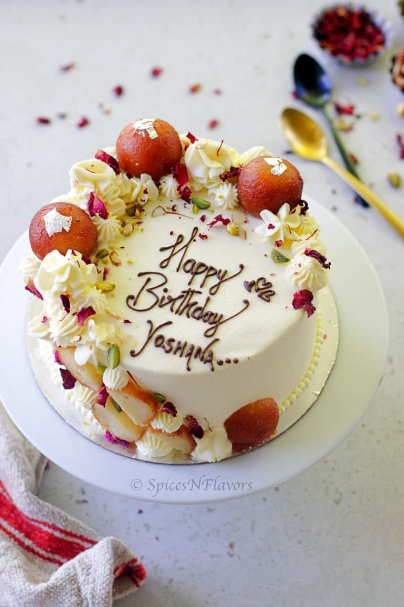 overhead view of gulab jamun cake showing the design on top