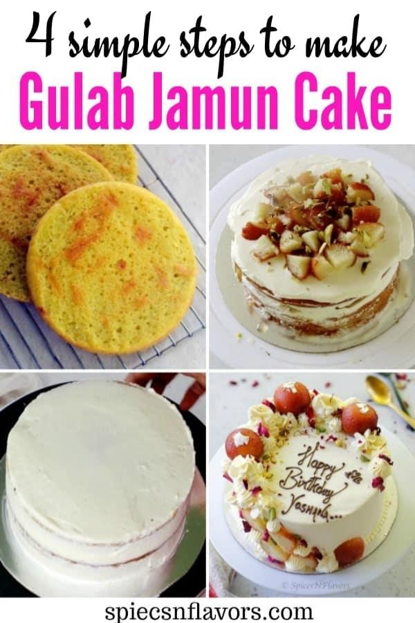 pin image of gulab jamun cake