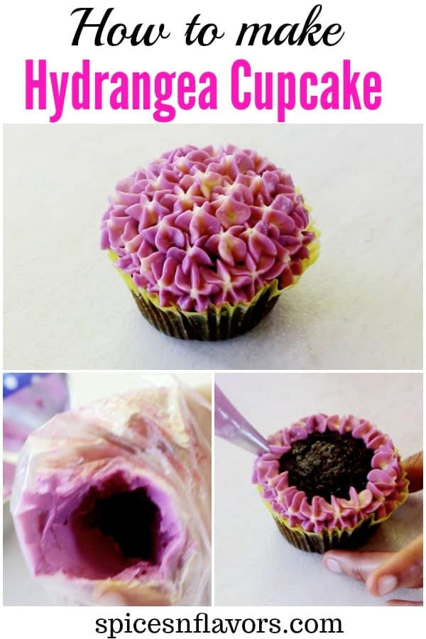 pictorial tutorial of hydrangea cupcake of buttercream flowers