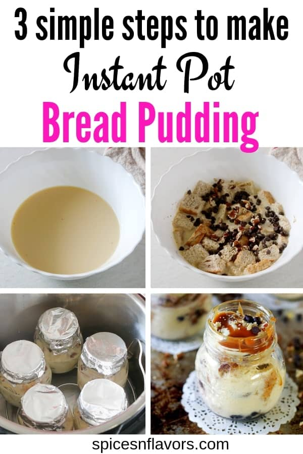 pin image of instant pot bread pudding