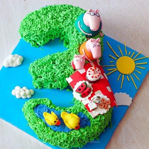 overhead image of peppa pig birthday cake