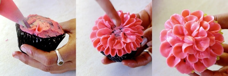pictorial tutorial of petal flower cupcake of buttercream flowers