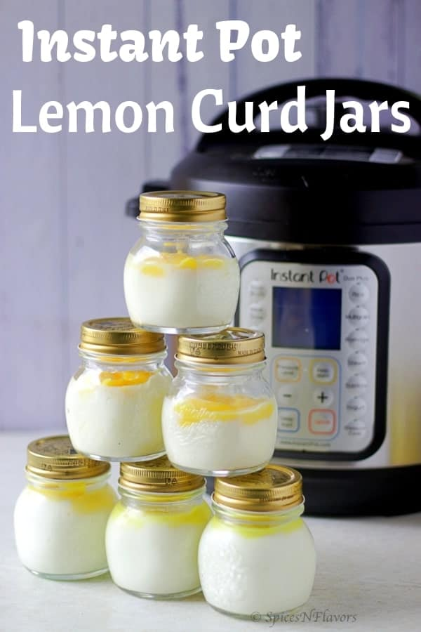 instant pot lemon curd topped over yogurt jars