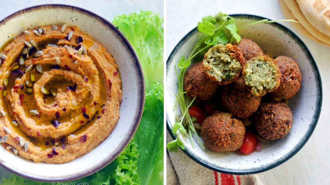 image showing hummus and falafel in a bowl to be served with instant pot whole wheat pita bread