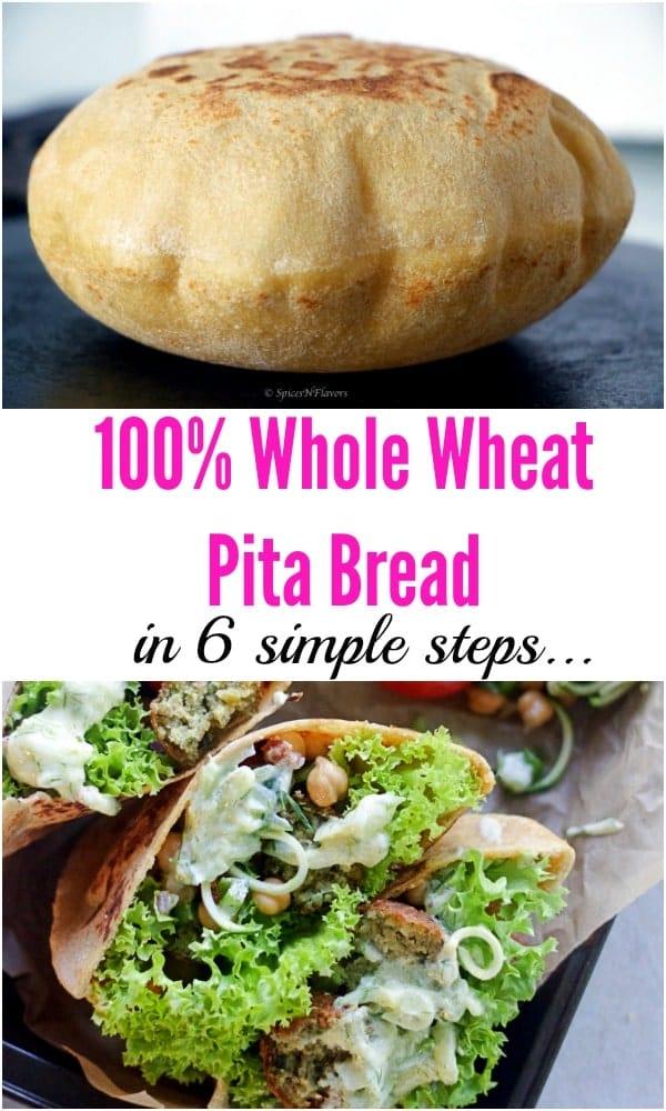 pin image of instant pot whole wheat pita bread