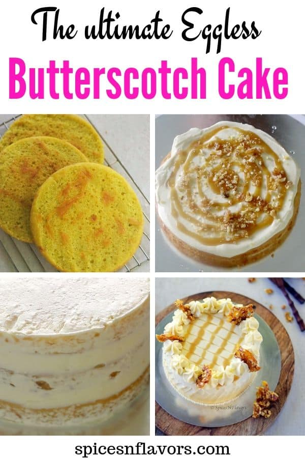 pin image of eggless butterscotch cake