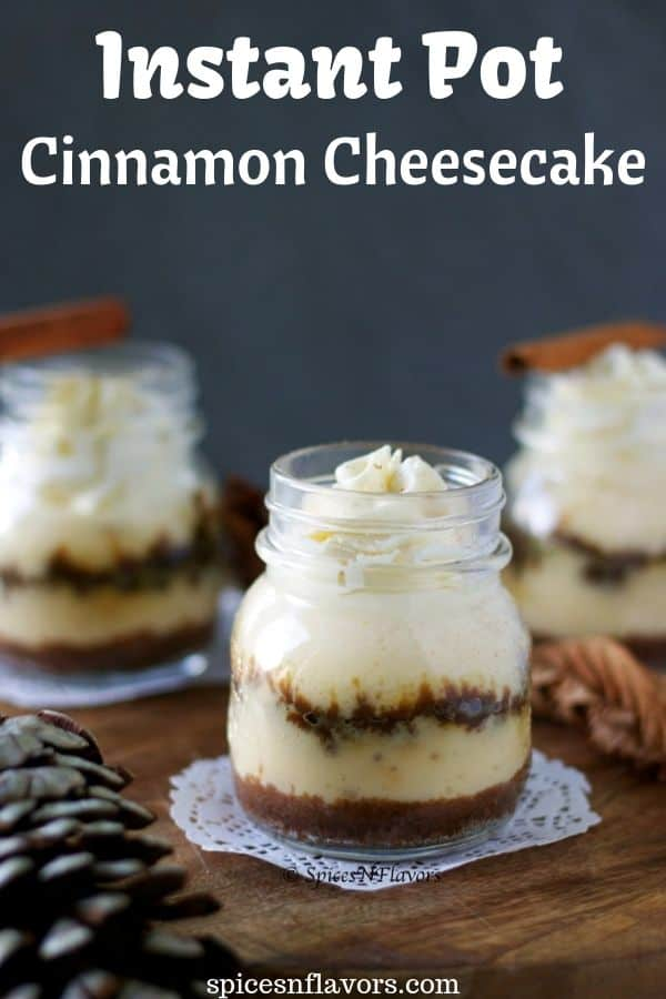 straight image of cinnamon roll cheesecake in jars
