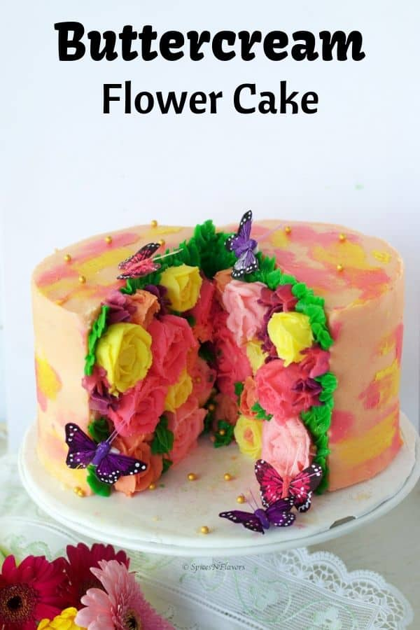 buttercream flower cake using a trending cake pattern - Cut Out Pattern
