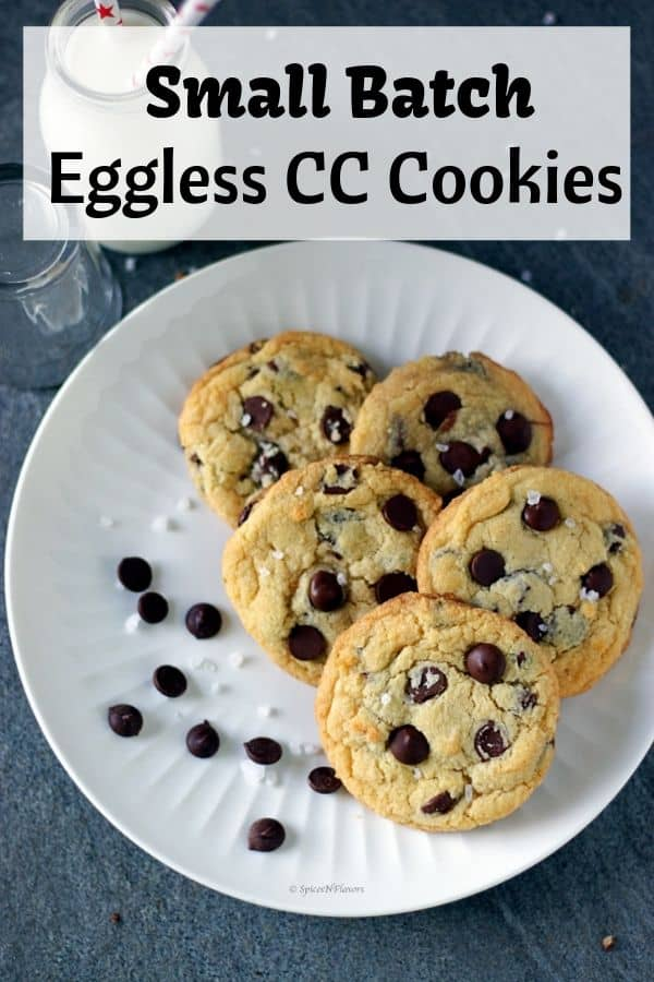 Eggless Chocolate Chip Cookies arranged on a plate