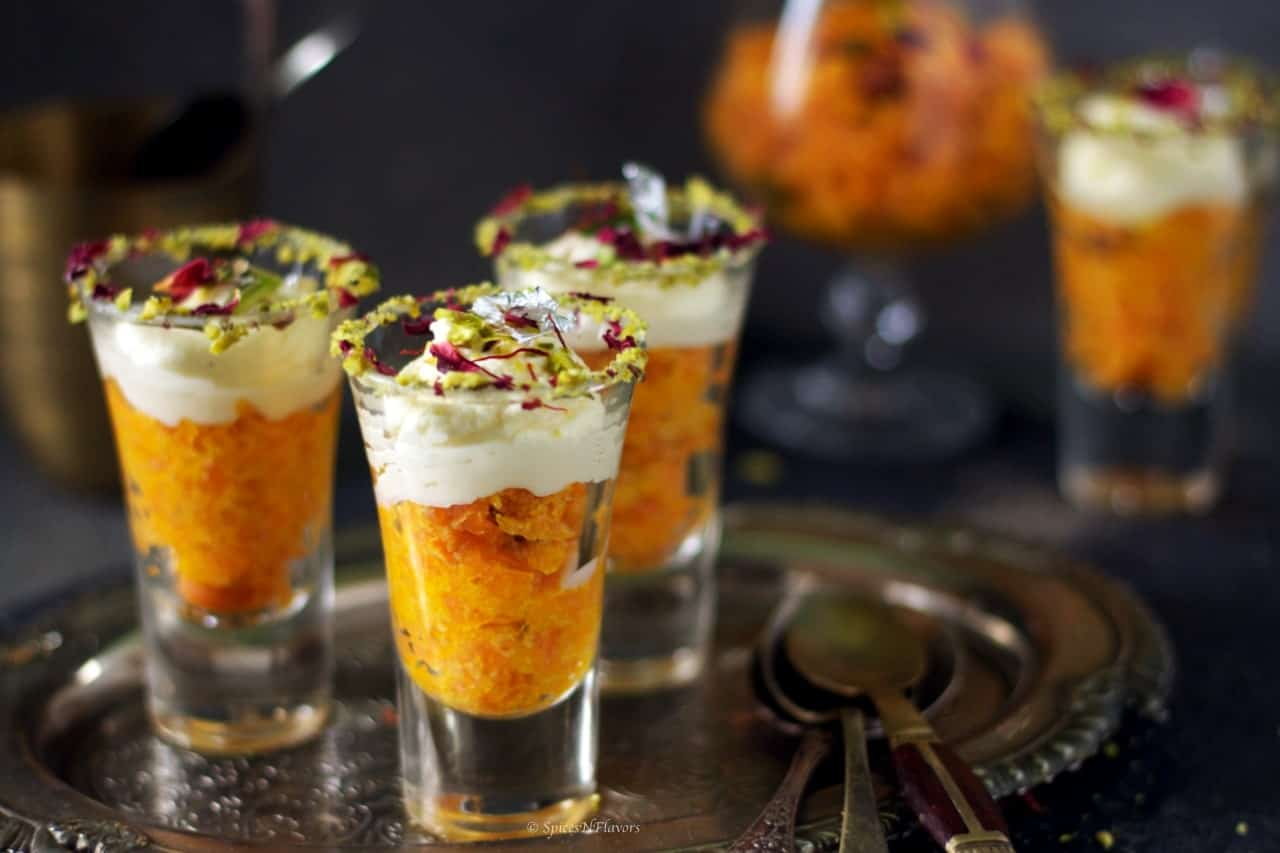 close up image of the halwa served in the shot glasses