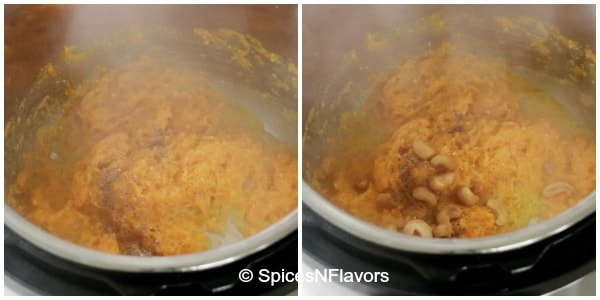 adding cardamom powder and cashewnuts