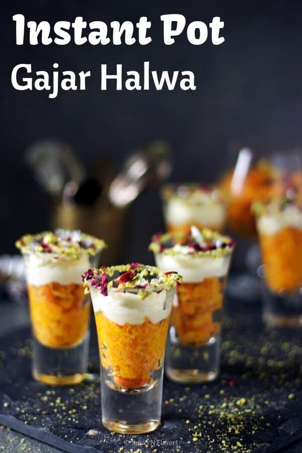 gajar ka halwa served in shot glasses and topped with whipped cream