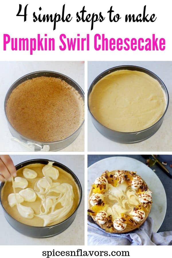 pumpkin swirl cheesecake step collage