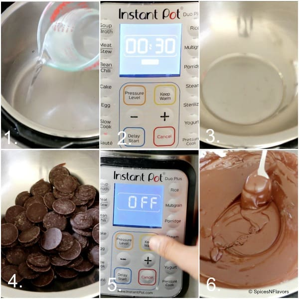 a collage of instant pot melted chocolates steps