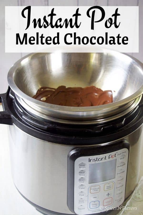dark chocolate melted in a metal bowl over instant pot