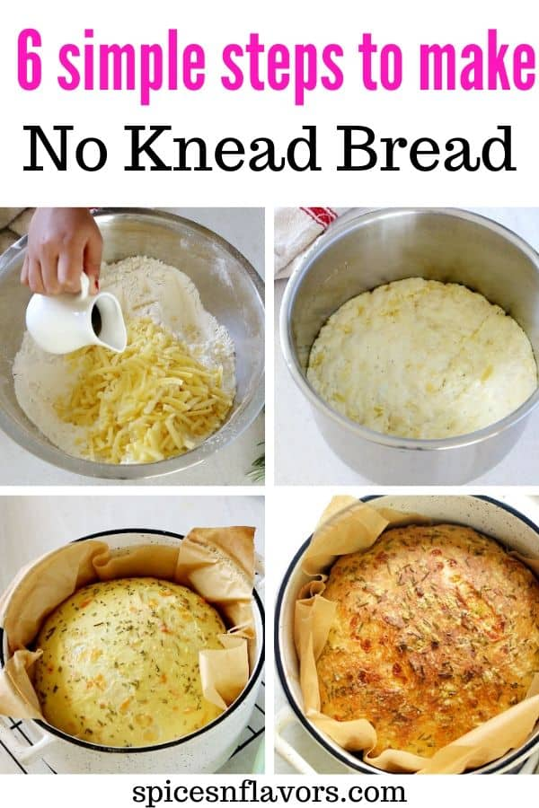 pin image of no knead bread