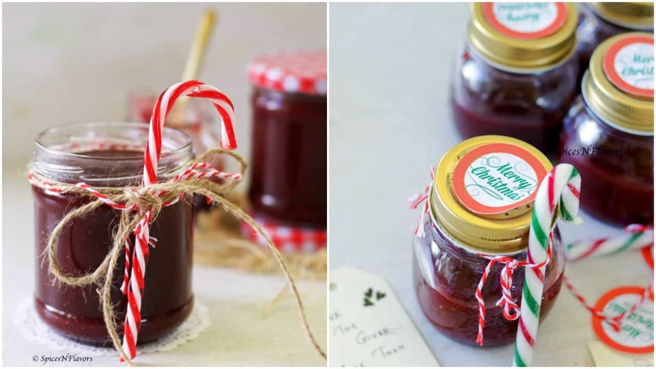 A collage of Christmas jam served in a small mason jar on the left and cute little mason jars on the right with merry christmas stickers on top