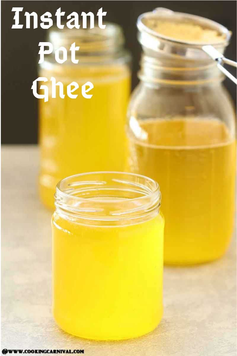 ghee made in instant pot placed in a mason jar