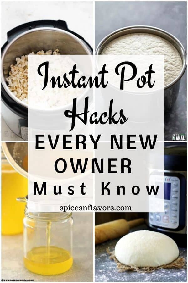 a collage of image to show the different instant pot hacks that you can do