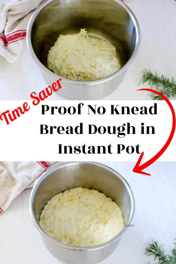 before and after image of no knead bread dough in ip