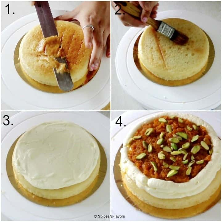 a collage of steps showing the levelling of cake, soaking it with syrup and the filling of cream, gajar halwa and pistachios