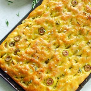 focaccia bread placed on a baking tray