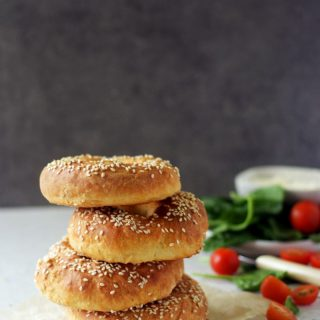 bagels stacked on one above the other