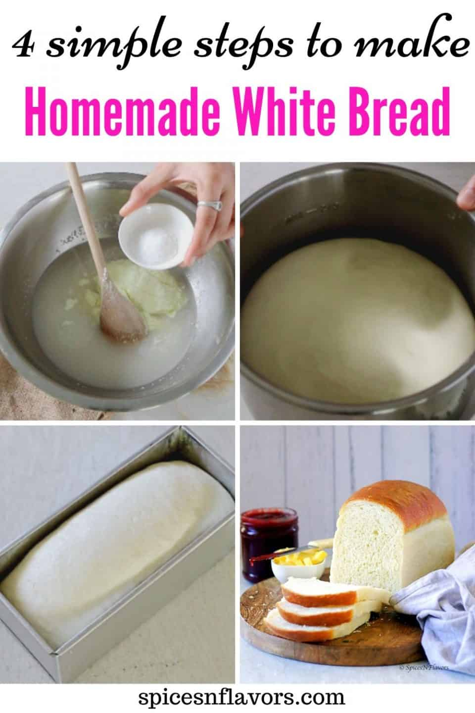 pin image for white bread recipe post