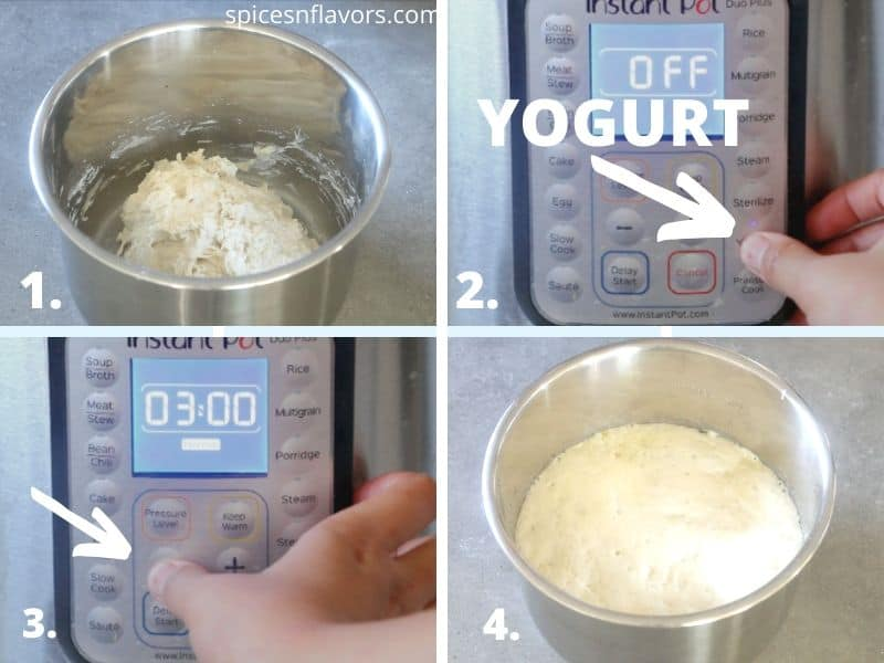 steps to proof the bread dough in the Instant Pot