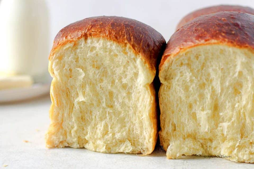 horizontal image of milk bread showing the internal strands