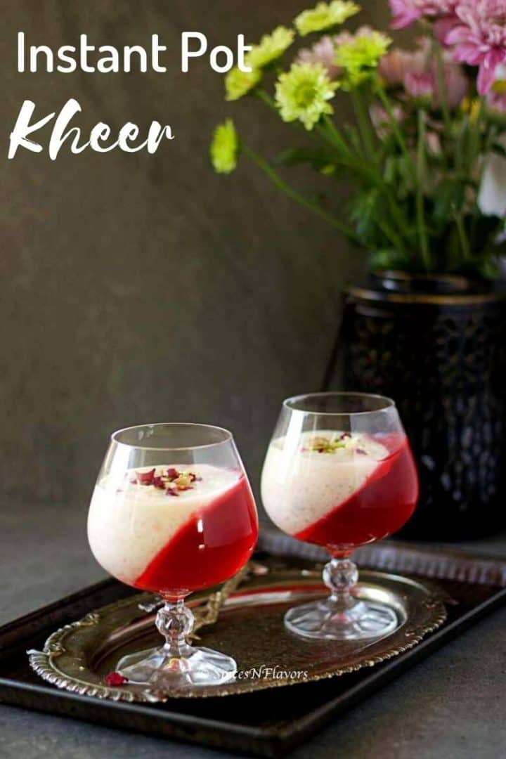 kheer served in glasses alongwith jelly placed on an antique plate