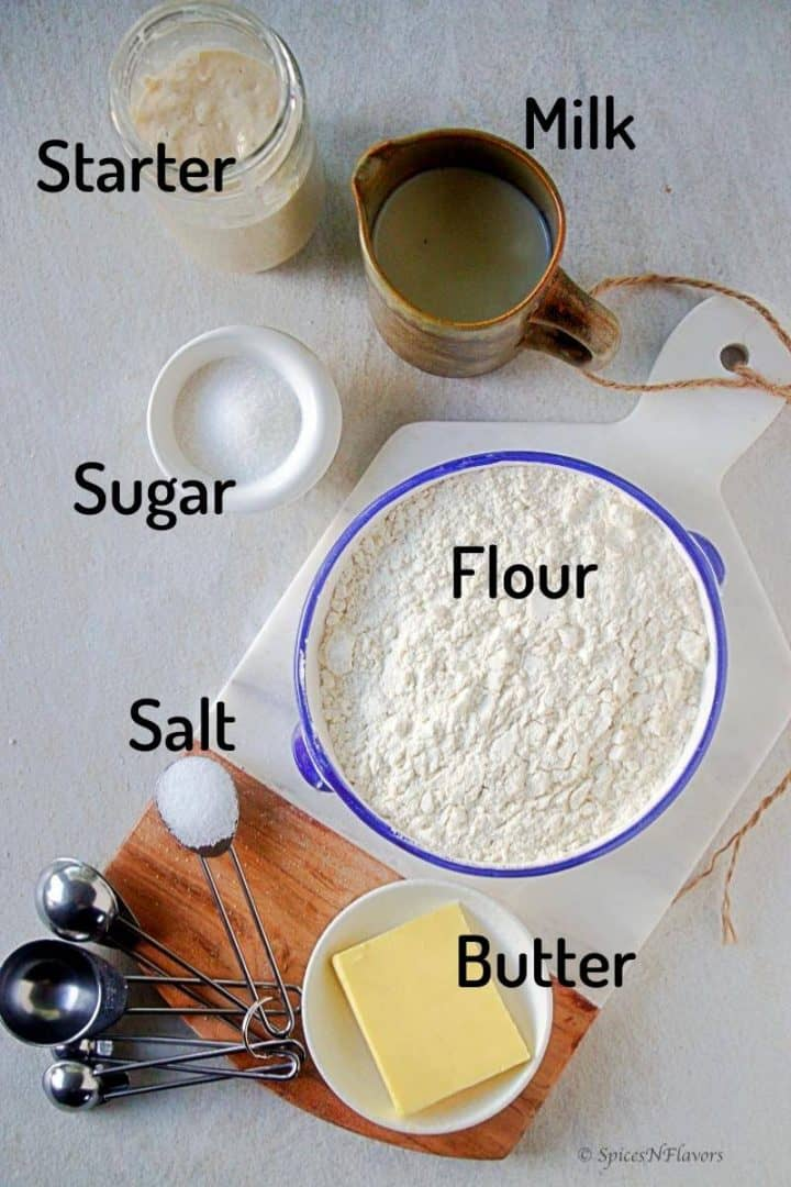 ingredients needed to make sourdough sandwich bread loaf